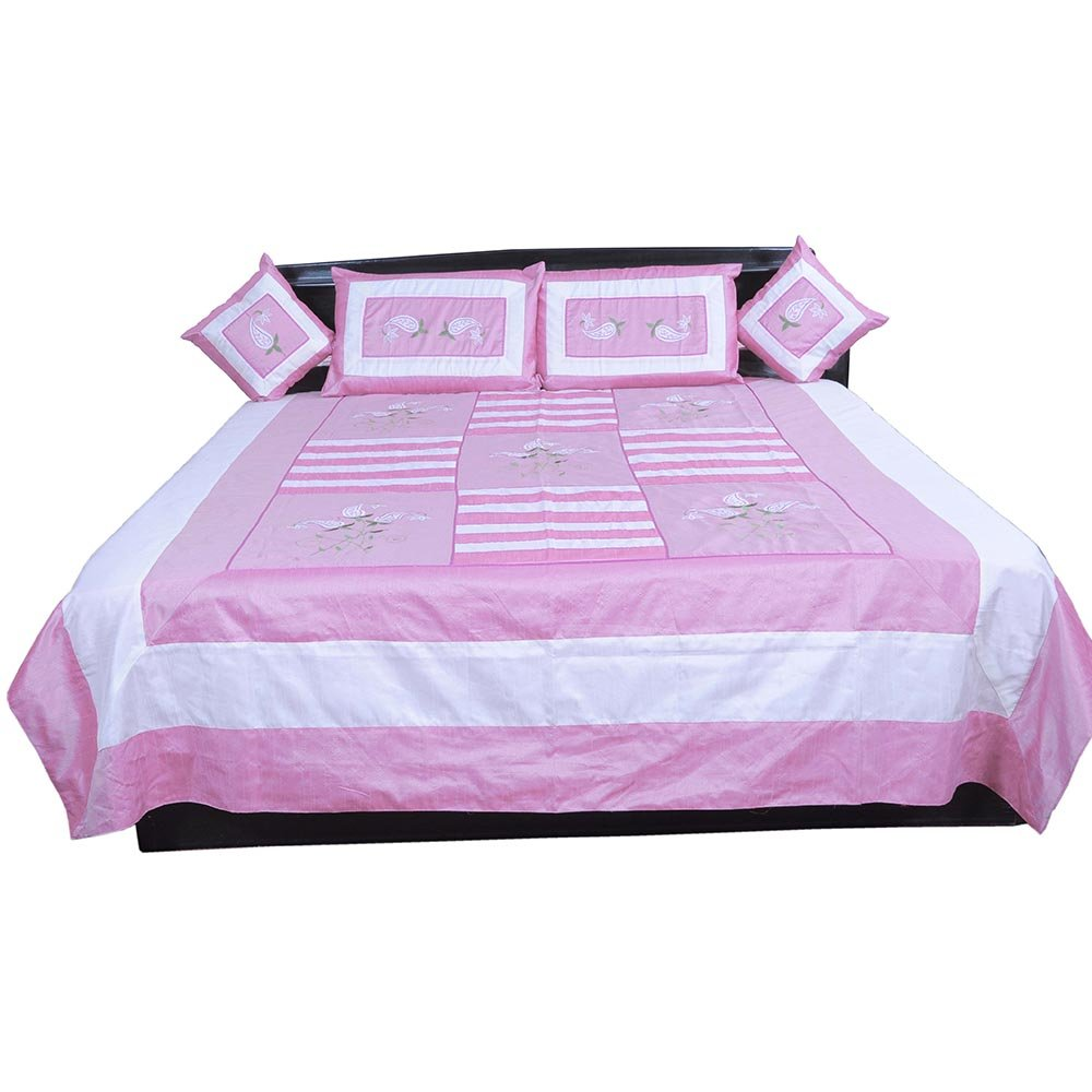 Little India 5 Piece Pink Embroidered Silk Double Bed Cover 341