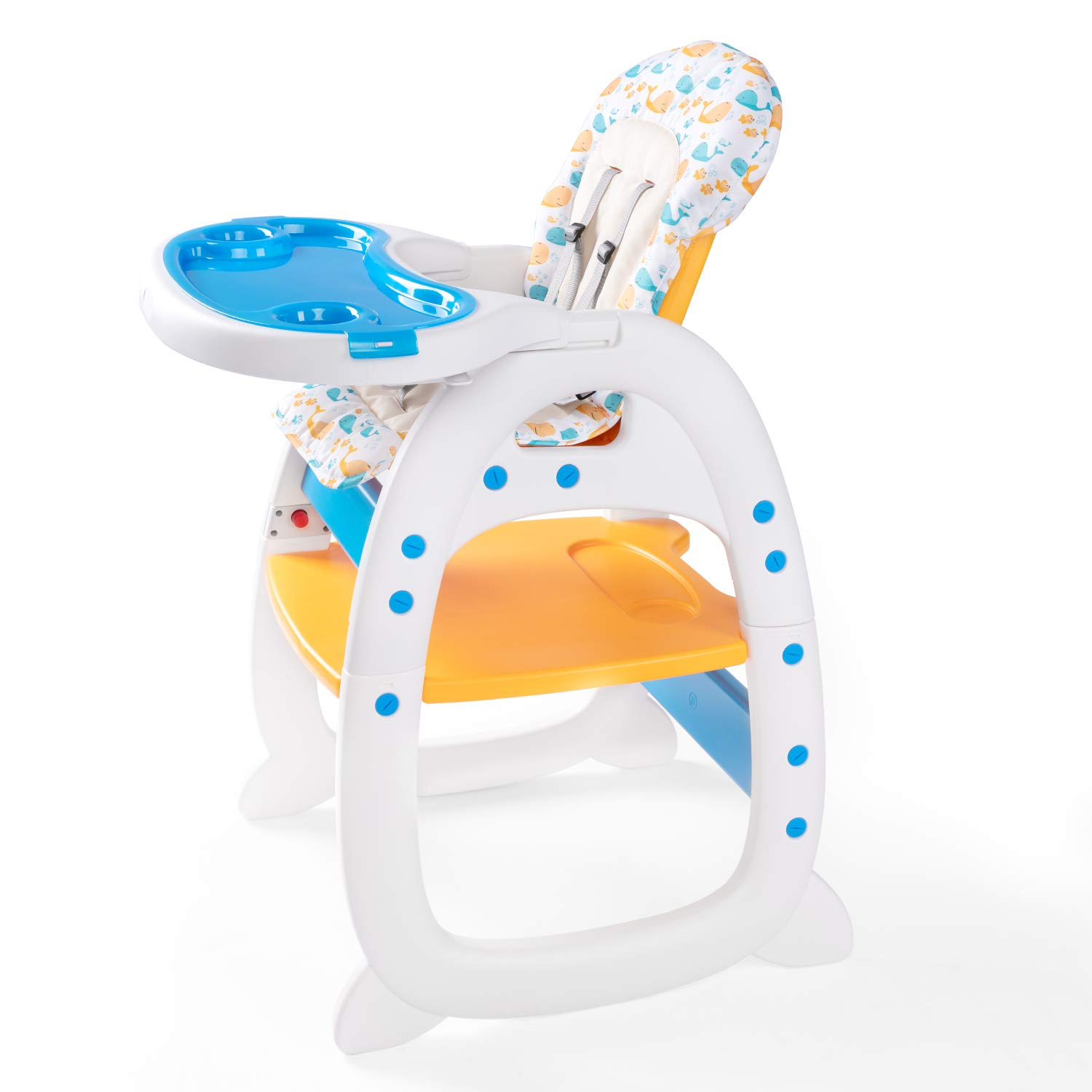 BAHOM 3 in 1 Portable Baby High Chair, Convertible Play Table Set, Booster Rocking Seat, 5-Point Harness, Removable Tray