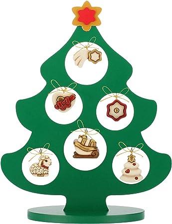 Addobbi Natalizi Thun.Thun Albero Di Natale In Legno Con 6 Mini Addobbi Ceramica H 41 5 Cm Linea I Classici Amazon It Casa E Cucina