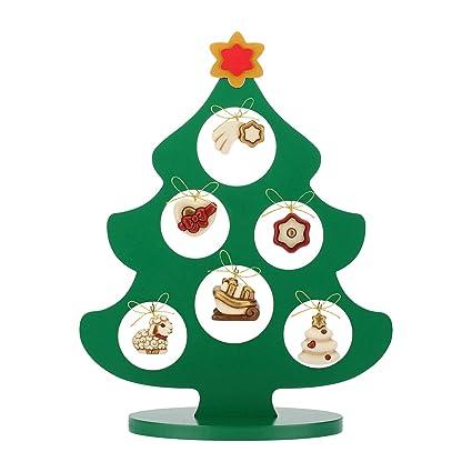 Albero Di Natale Con Presepe Thun.Thun Albero Di Natale In Legno Con 6 Mini Addobbi Ceramica H 41 5 Cm Linea I Classici