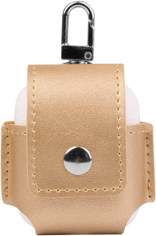 SumacLife Drop Proof Vegan Leather Protective Pouch Pocket with Carbiner Other for Apple Airpod - Gold