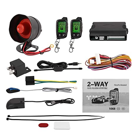 uxcell 2 Way Car Alarm System LCD Paging Vehicle Keyless Entry Remote Start Security System with Vibration