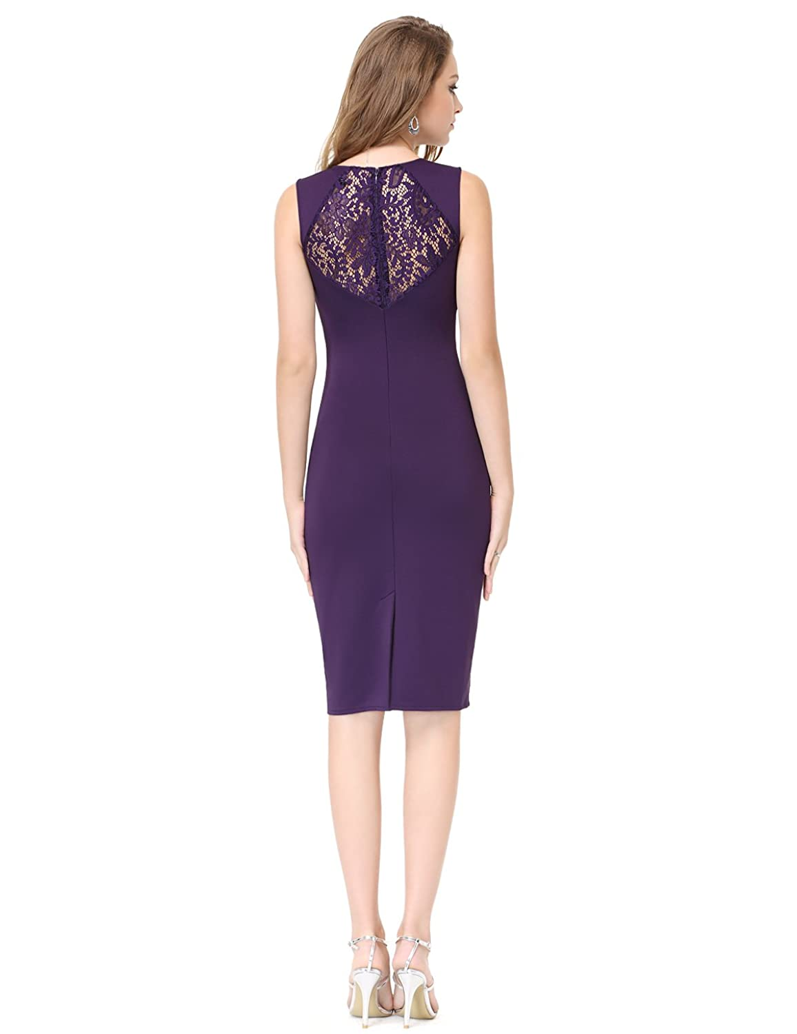 Ever Pretty Elegant Lace Boat Neck Fitted Women's Black Party Dress 05336