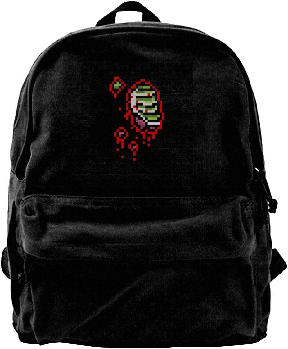 MIJUGGH Canvas Backpack Zombie Half Guts 8 Bit Rucksack Gym Hiking Laptop Shoulder Bag Daypack for Men Women