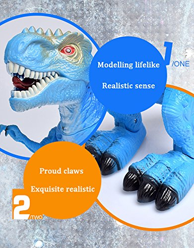 T-Rex Electronic Walking Dinosaur with Flashing Lights and Realistic Animal Sounds (Blue) by Vabliss (Image #6)