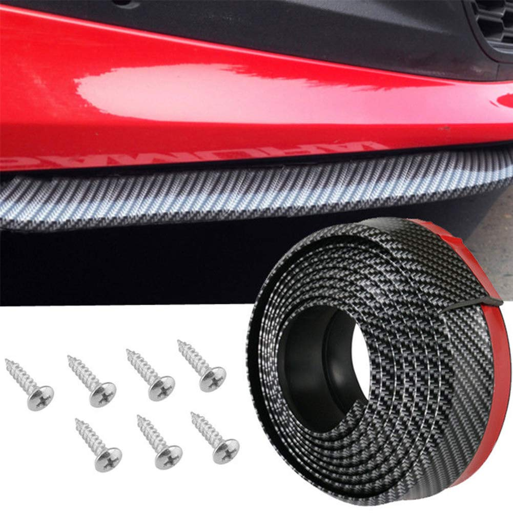 Universel de Voiture en PVC en Fibre de Carbone Pare-Chocs Avant /à l/èvres r/épartiteur Menton Spoiler Trim Protector Accessoires Auto