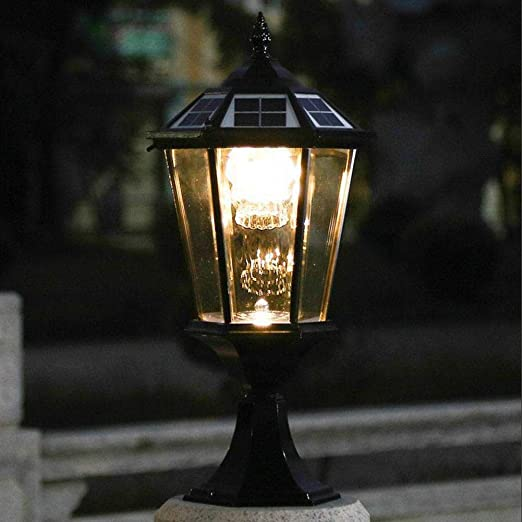 Pilar luces al aire libre, 2 piezas exterior impermeable LED luz de energía solar Dual Color lámpara de temperatura Pilar LED luces para jardín, negro: Amazon.es: Jardín