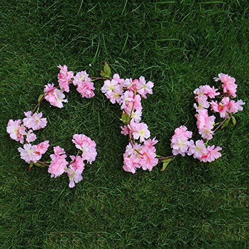 Artificial Dried Flowers - 180cm Cherry Blossoms Rattan Sakura Decoration Vine Artificial Flowers Silk Ivy Wall Hanging - Branch Halloween Necklace Sakura Color Paint Bride Decorations Wall Rattan ()