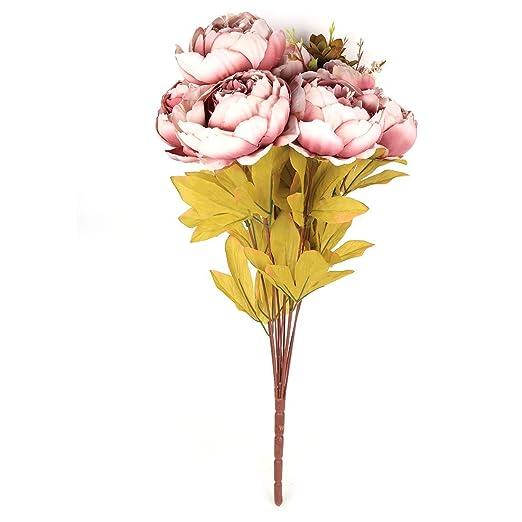 Amazon.com: DealMux Flores Artificial, Artificial peônia flores de seda Bouquet Início Wedding Decoração luz roxa: Home & Kitchen
