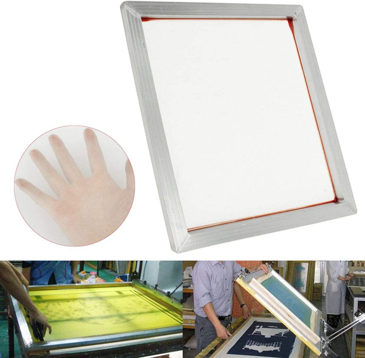 230 100T Yellow Mesh INTBUYING 6Pcs 15x17 Screen Printing Frame Mesh Pre-Stretched Aluminum Frame