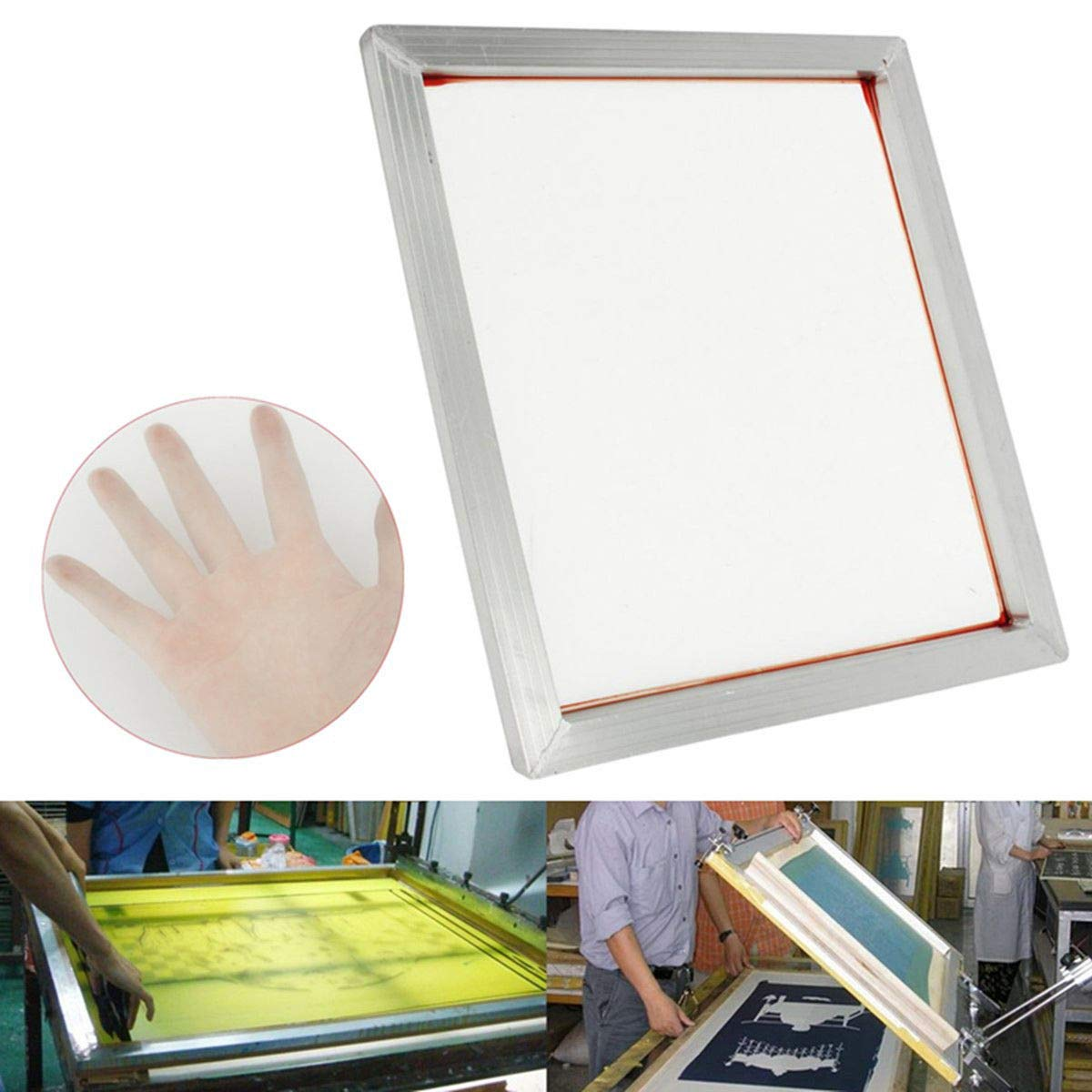 230 INTBUYING 6Pcs 15x17 Screen Printing Frame Mesh Pre-Stretched Aluminum Frame Yellow Mesh 100T