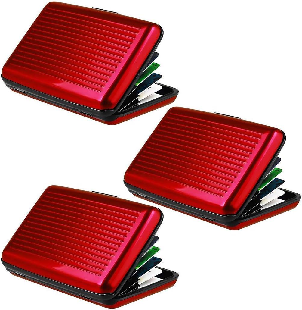 Bageek Kreditkarteninhaber RFID Blocking Kreditkarten Wallets Protector 6-Karten-Slots Slim Edelstahl Aluminium Packung mit 3 H/üllen Rot