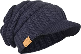 HISSHE Men's Thick Knit Newsboy Cap Visor Beanie Hat Fleece Lined Multicolor B319