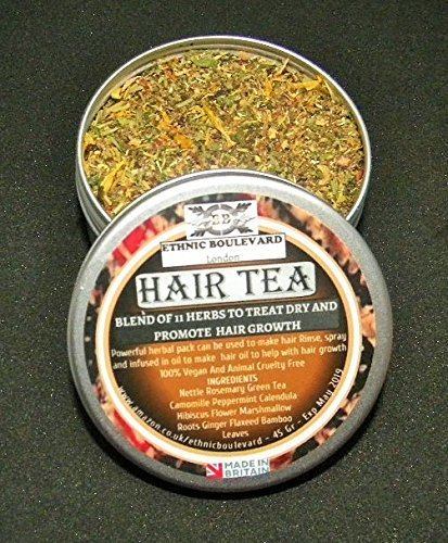 HAIR TEA RINSE - 11 HERBS TO TREAT DRY HAIR ISSUES AND PROMOTE HAIR GROWTH - Hair Tea - Natural conditioner for dry scalp and hair 100% Vegan No Chemicals - Growth Treats