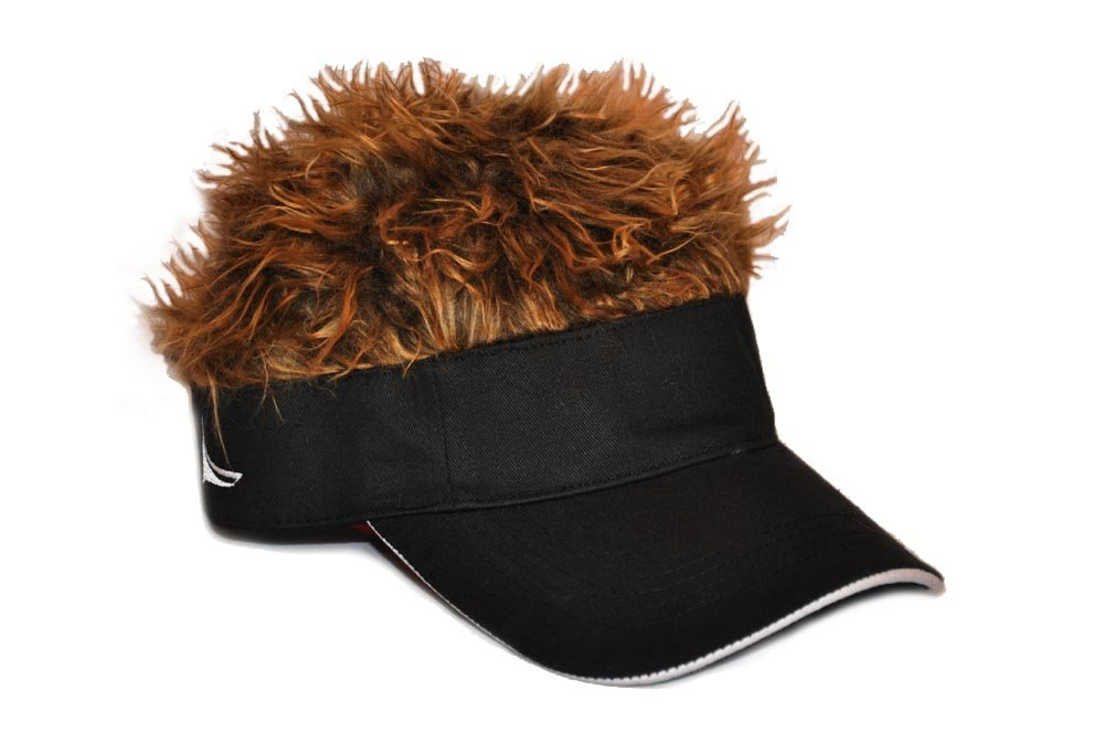 Flair Hair Novelty Adjustable Visor with Spiked Hair Joke/Gag Visor/Hat/Cap Black/Brown One Size FHVSBBR-Black/Brown