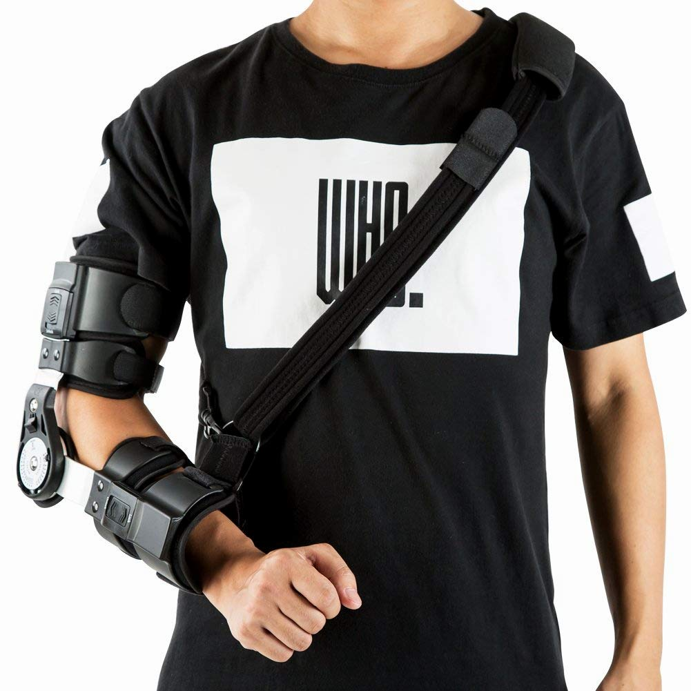 Hinged ROM Elbow Brace, Adjustable Post Op Elbow Brace with Strap for Support Post Op Injury Recovery (Right)