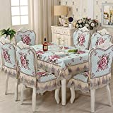 European restaurant set tablecloth dining room home table linen rural table covers with chair mat(H:50xInner:45xOuter:52Cm) And back(H:60-70xUp:55xDown:45Cm)-P 6 Sets Chair Mat and Back+150x200cm