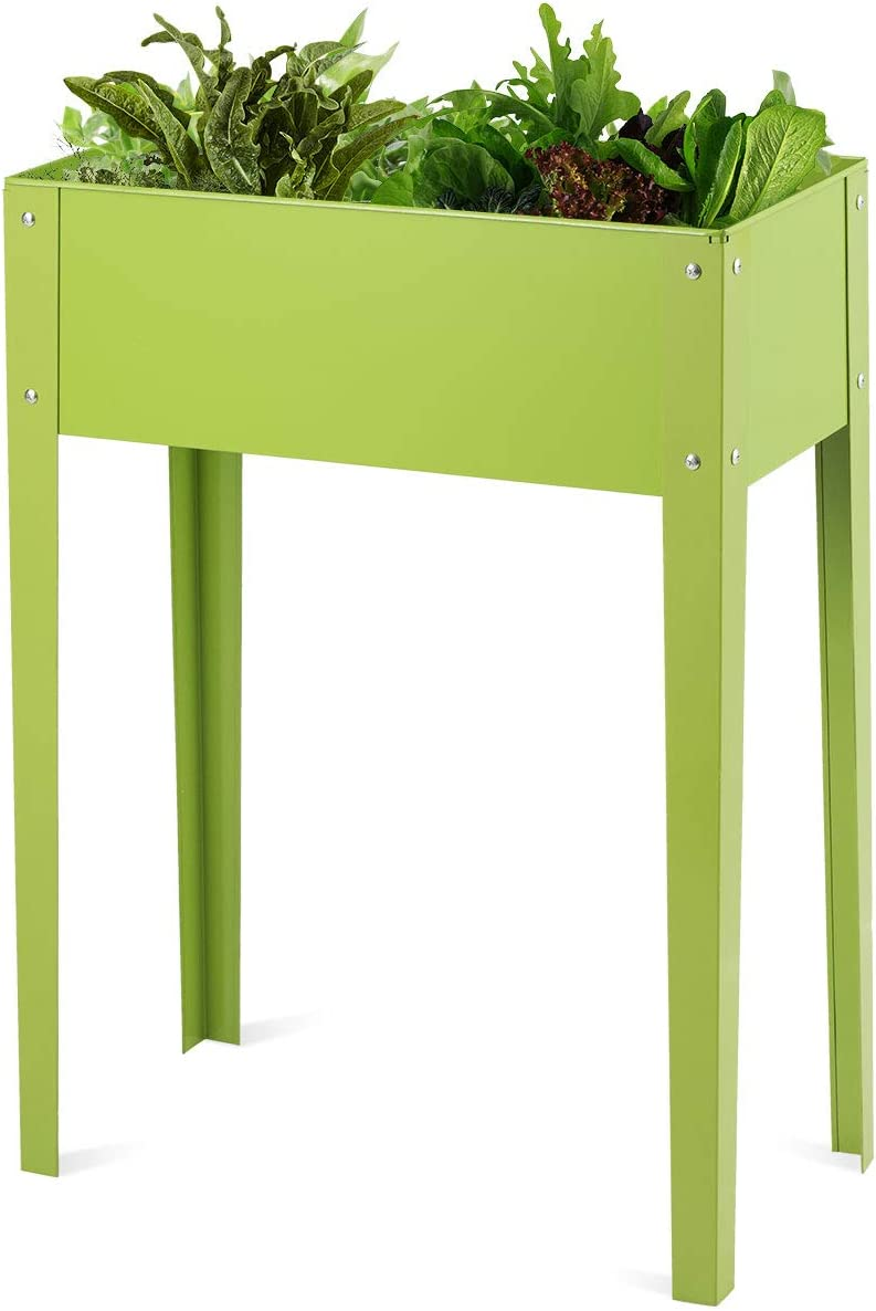 Giantex Raised Garden Bed, Elevated Planter, Metal Plant Box with Legs, Standing Garden Stand,Vegetables and Flowers Growing Container for Indoor and Outdoor Use (25