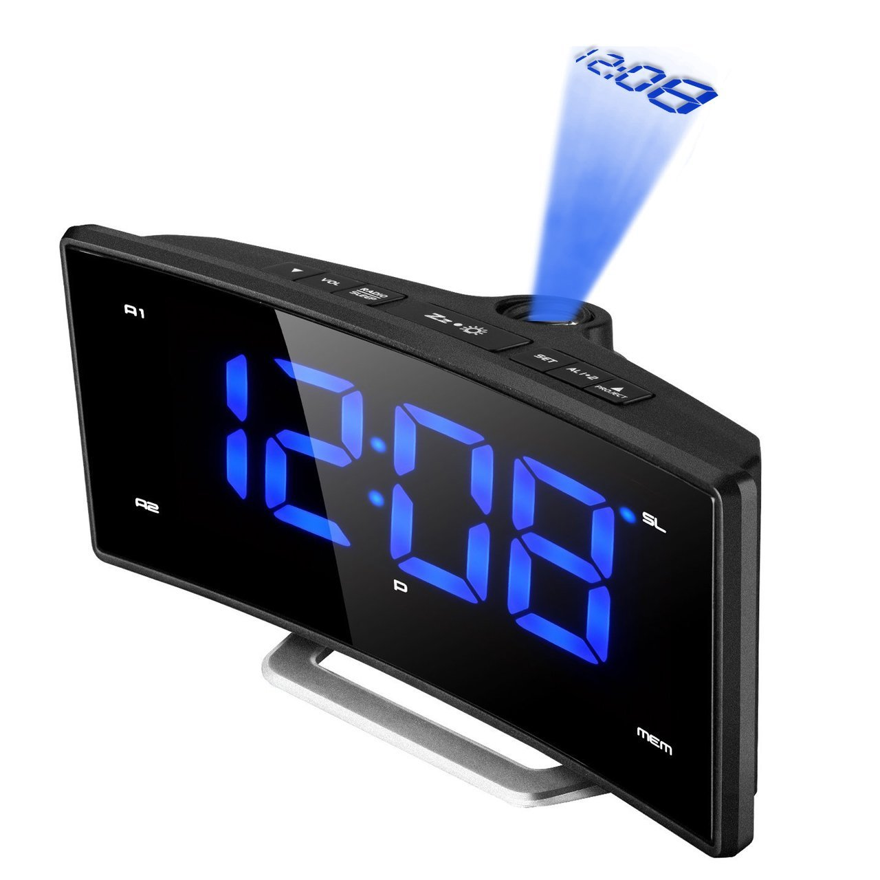 Projection Alarm Clock, (New Version) Pictek FM Radio Digital Ceiling Clock with Dual Alarms and Snooze Function, (12/24 Hour) 2-inch Large LED Dimmable Display Clocks with Adjustable Brightness YTGEHM074ABUS-CAAE2