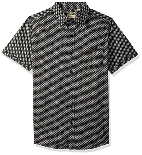 Haggar Men's Short Sleeve Micrographic Prints Woven Shirt, Black/Steel, XL