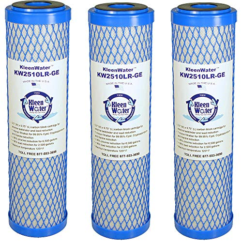 (KleenWater Carbon Block Water Filter Replacement Cartridges, Compatible with OmniFilter CB1 and CB3, Made in The USA, Pack of 3)