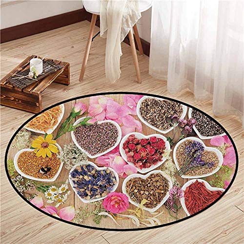 - Round Carpet,Floral,Healing Herbs Heart Shaped Bowls Flower Petals on Wooden Planks Print Healthcare,Children Bedroom Rugs,3'3