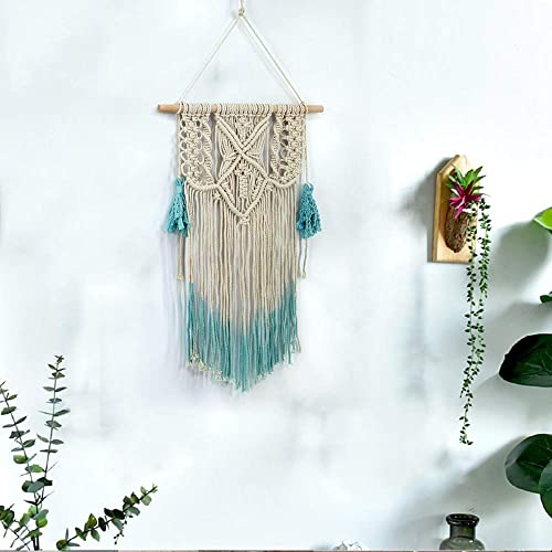 LANGUGU Macrame Woven Wall Hanging Tapestry Aqua Blue Gradient Color Tassel Chic Bohemian Interior Wall Pediments Decor Wall Art Woven Tapestry for Living Room,Bedroom,Apartment,Wedding Party Backdrop