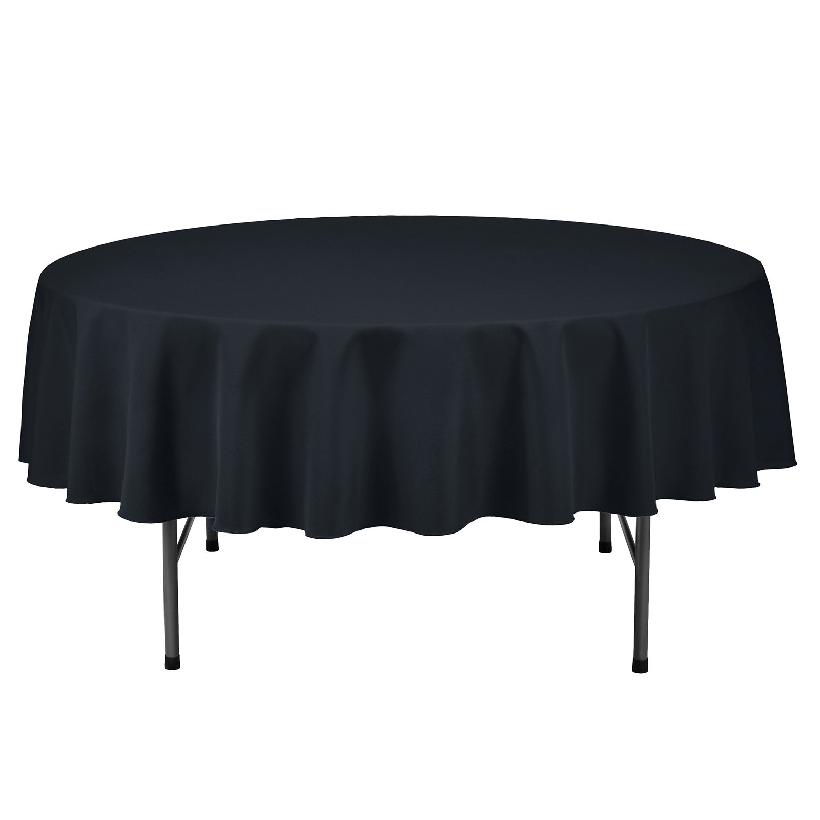 VEEYOO Tablecloth 90 inch Round Solid Polyester Table Cloth for Wedding Restaurant Party Kitchen Dining Table Christmas, Navy