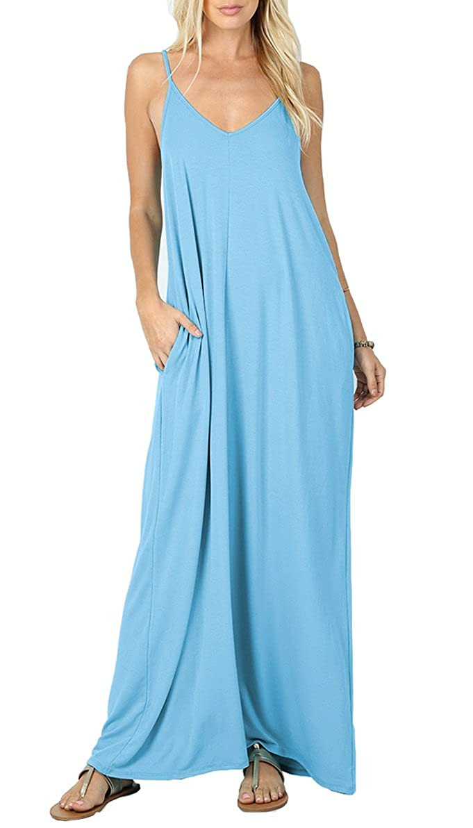 03 Light bluee Iandroiy Women's Summer Casual Plain Flowy Swimwear Cover Up Loose Beach Cami Maxi Dresses with Pockets