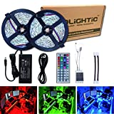 RoLightic Led Strip Lights Kit SMD 5050 32.8 Ft (10M) 300LEDs RGB Rope Lights with 44key IR Controller and 12V 5A Power Supply for Indoor Home Cabinet Bedroom Background Use