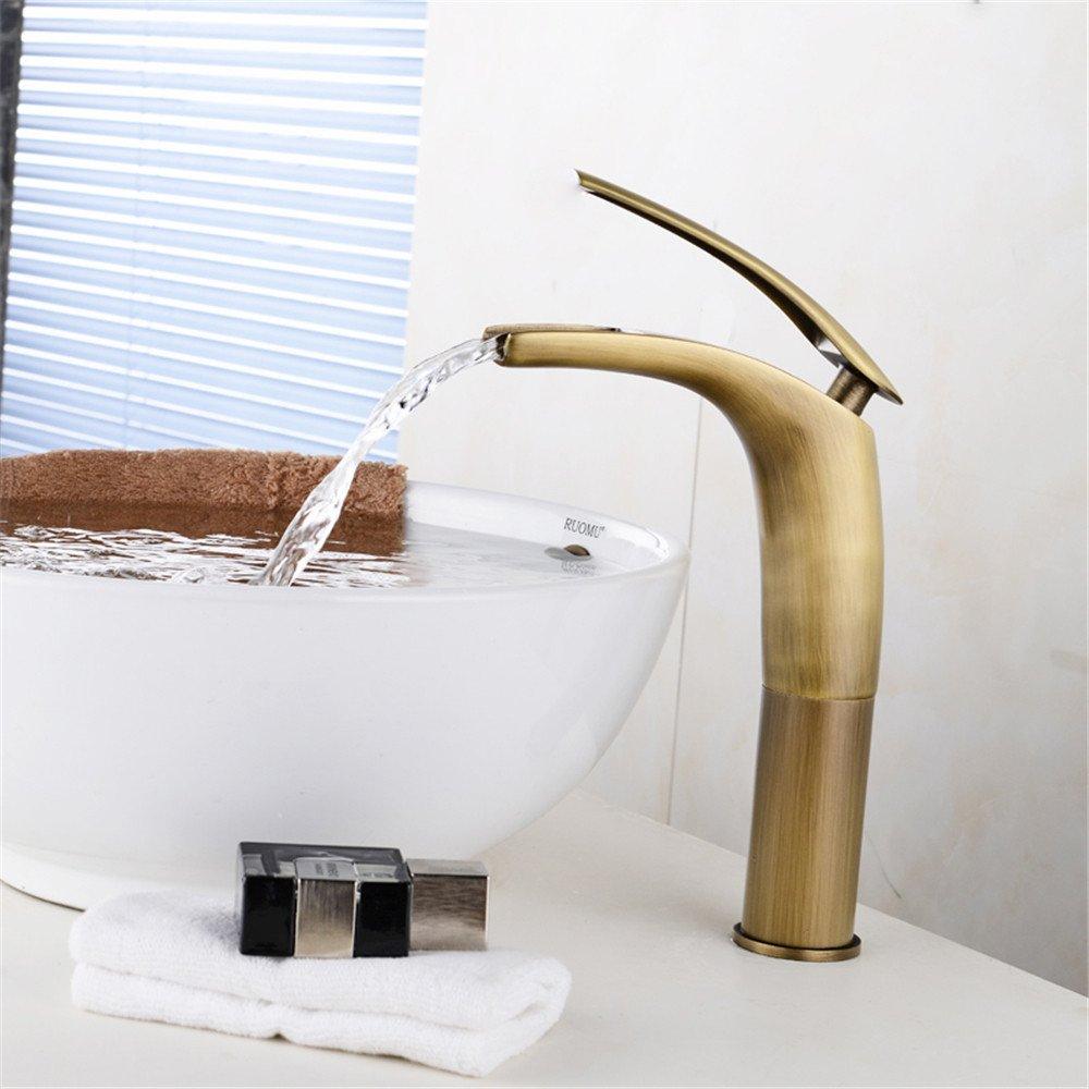 Alle Kupfer heiße und kalte Dusche continental Wasserfall retro mixer Waschbecken Waschbecken Armaturen
