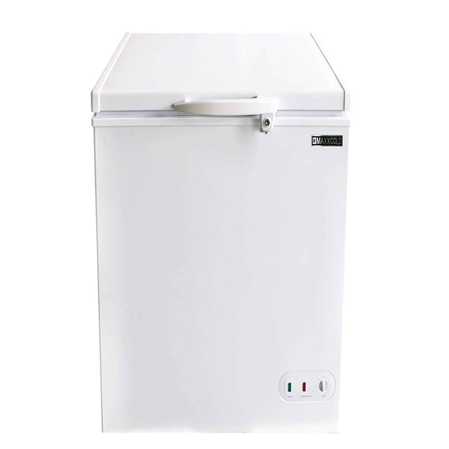 Maxx Cold 3.4 Cubic Feet 96 Liter Solid Hinged Top Sub Zero Commercial Chest Freezer with Locking Lid NSF Garage Ready Manual Defrost Keeps Frozen for 2 Days In Case of Power Outage, 22.8 In W, White