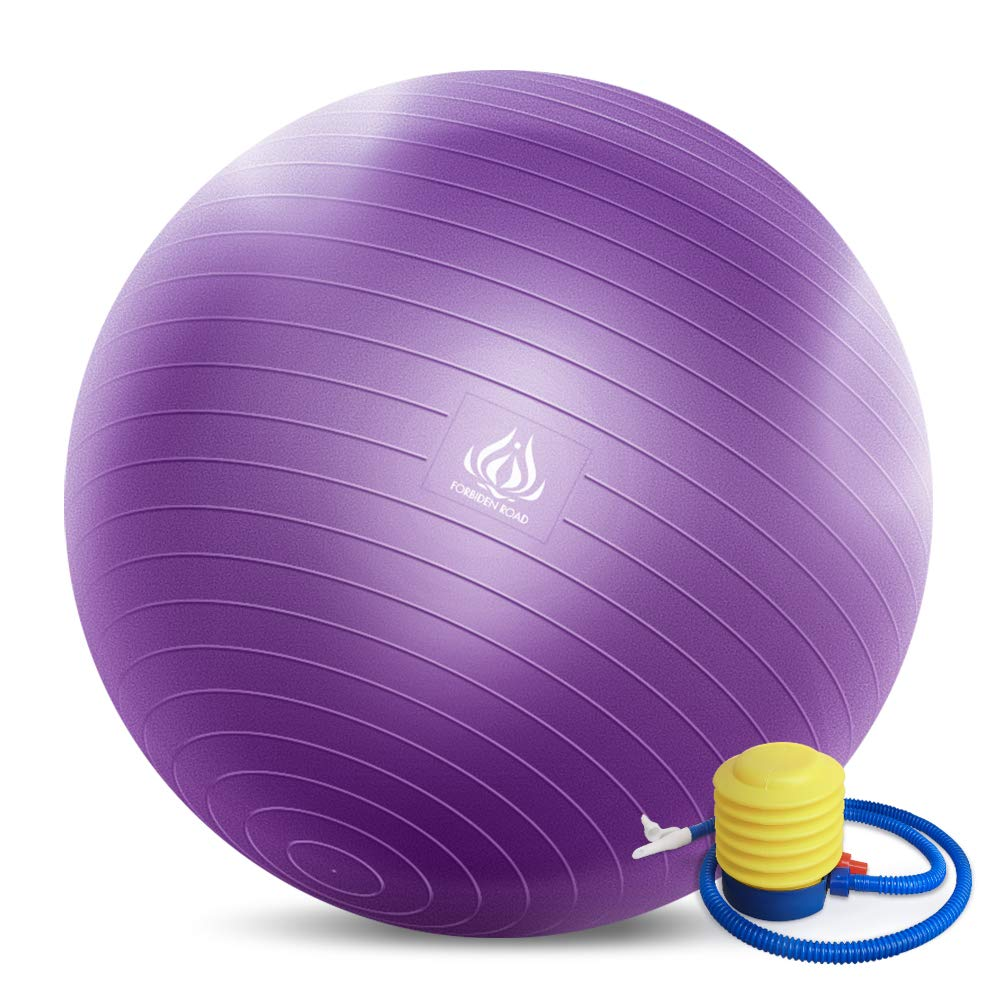 Forbidden Road Exercise Yoga Ball (4 Sizes, 4 Colors) 400 lbs Anti-Burst Slip-Resistant Yoga Balance Stability Swiss Ball for Fitness Exercise with Free Air Pump (Purple, Diameter: 70-75cm)