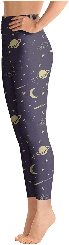 Eoyles gy Womens High Waist Printed Moon Star Activewear Yoga Pant Leggings