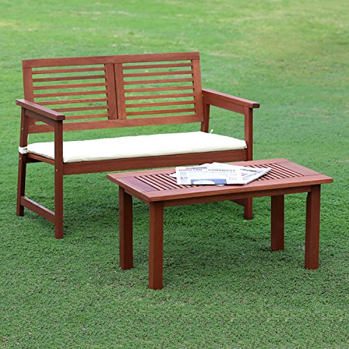 Furinno Tioman Hardwood Outdoor Bench In Teak Oil With White Cushion Green Ankles Gardening