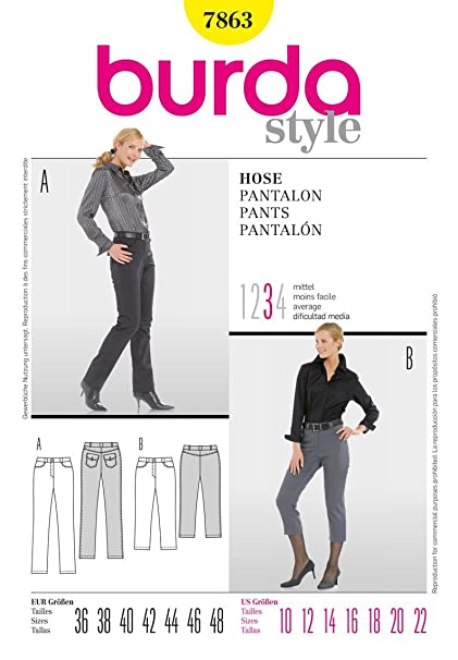 7863 Burda Pants Sewing Pattern Sizes 10-22