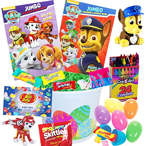 Paw Patrol Easter Basket 20 Pc Kit, Easter Eggs, Easter Candy, Paw Patrol Coloring Books, Jelly Belly Jelly Beans, Paw Patrol Pup Buddies Figure, Chase Bath Squirter, Crayons, Easter Grass, and more!