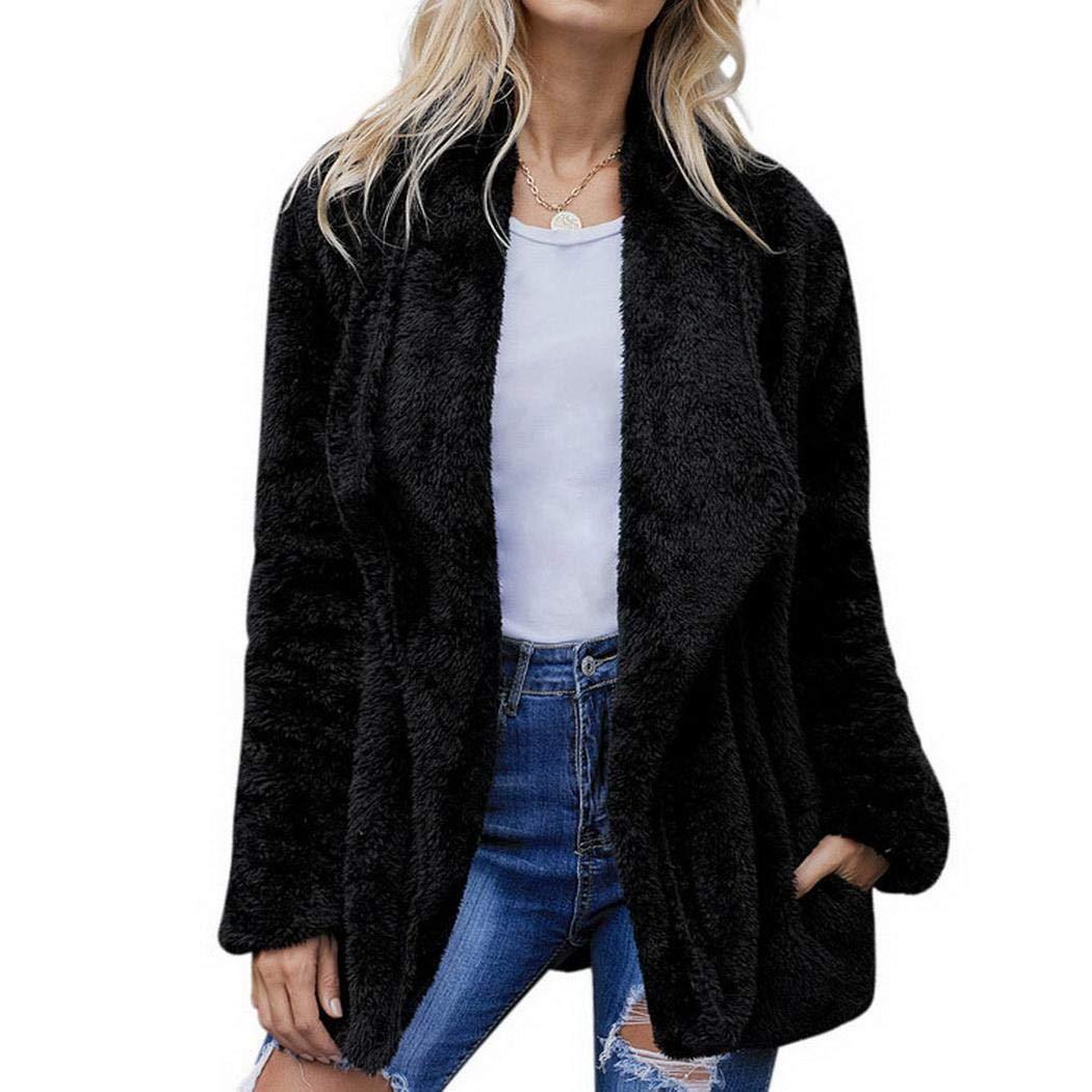 XioNiu Women Long Sleeve Solid Cardigan Coat Casual Outwear with Side Pocket Down Black