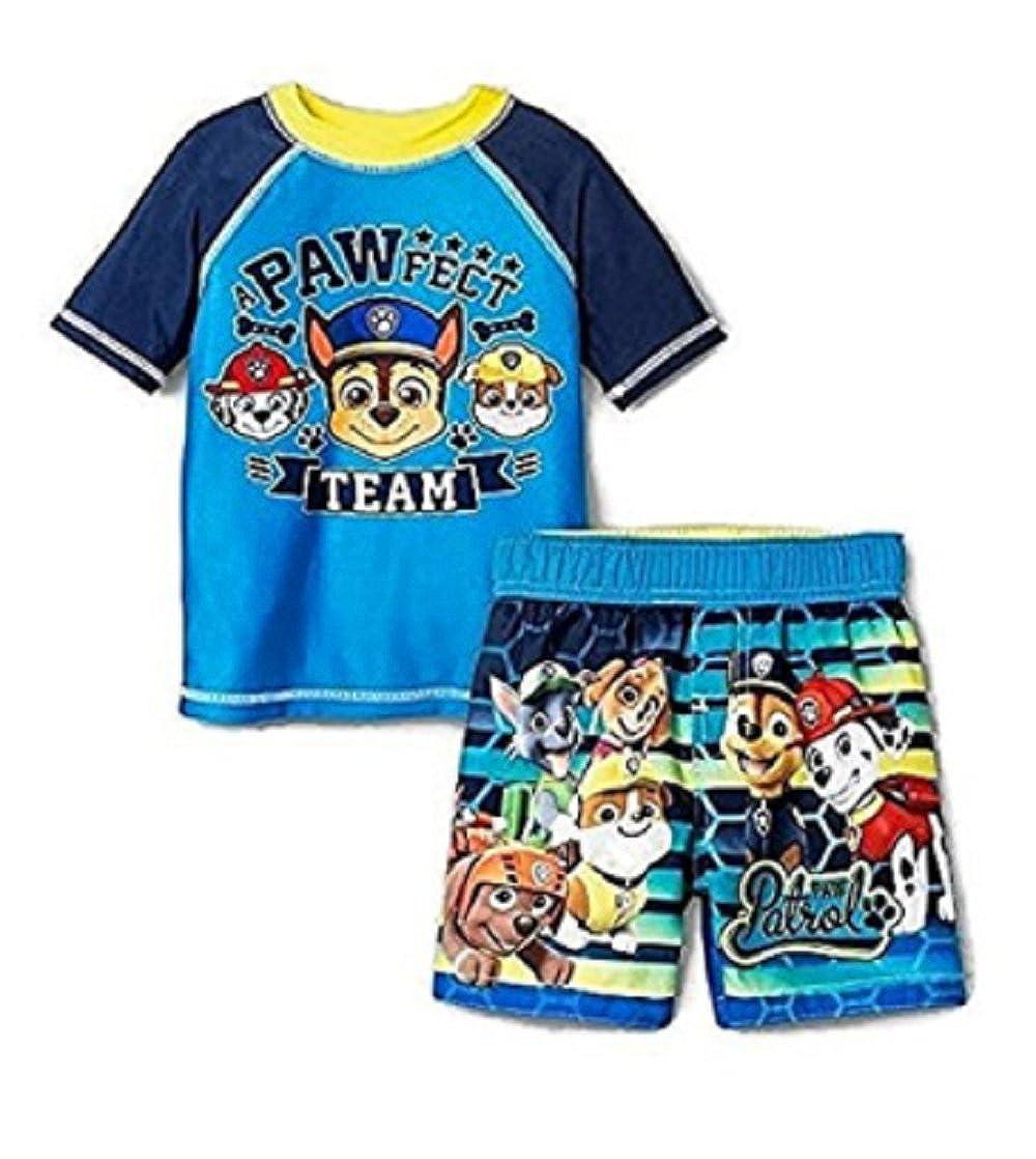 Nickelodeon Paw Patrol幼児用男の子ラッシュガード&トランクセットUPF 50 +太陽保護 5  B072Z7NPY3