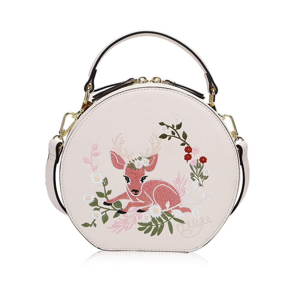 Small Fresh Versatile Messenger Bag Fashion Embroidery Ladies Shoulder Portable Casual Small Round Bag ZJ- Shoulder Bag Shoulder Bag PU//Polyester 20X8.8X19cm /&/&