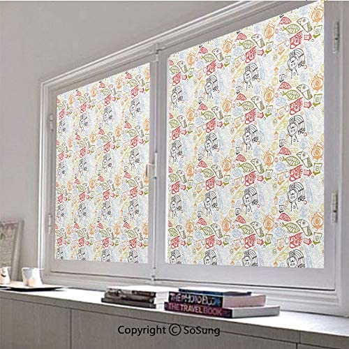 30×42 inch Window Privacy Film,Artisan Abstract Trippy Pattern with Fish and Eye Figures Colorful Illustration Non-Adhesive Static Cling Frosted Window Film,Window Stickers for Kids Home Office