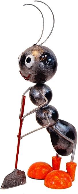 Amicaso Hormigas con Escoba, decoración de jardín, decoración de Metal: Amazon.es: Jardín