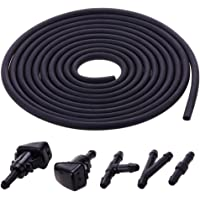 Zhuotop Car Windshield Washer Squirter Nozzles Kit Spray Fluid Hose 3 Meters Fluid Hose with 3 Pcs Connector