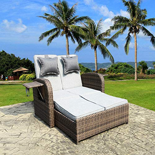 2 PCS Loveseat Outdoor Patio Wicker Rattan Love Seat Sofa Daybed Set Garden Furniture Grey Cushions