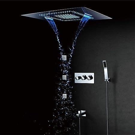 Regendusche Set Wasserfall Dusche Wasserhahn Massage Körper Duschsystem Chrom