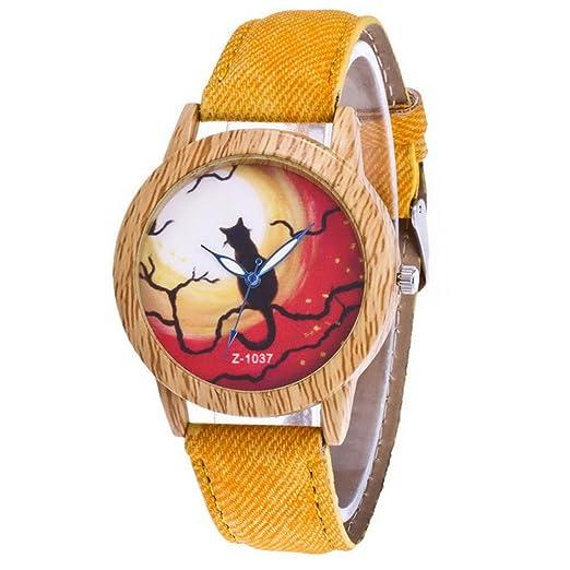 homim yellow artificial leather strap halloween cat quartz analog wrist watch 24cm for women christmas halloween