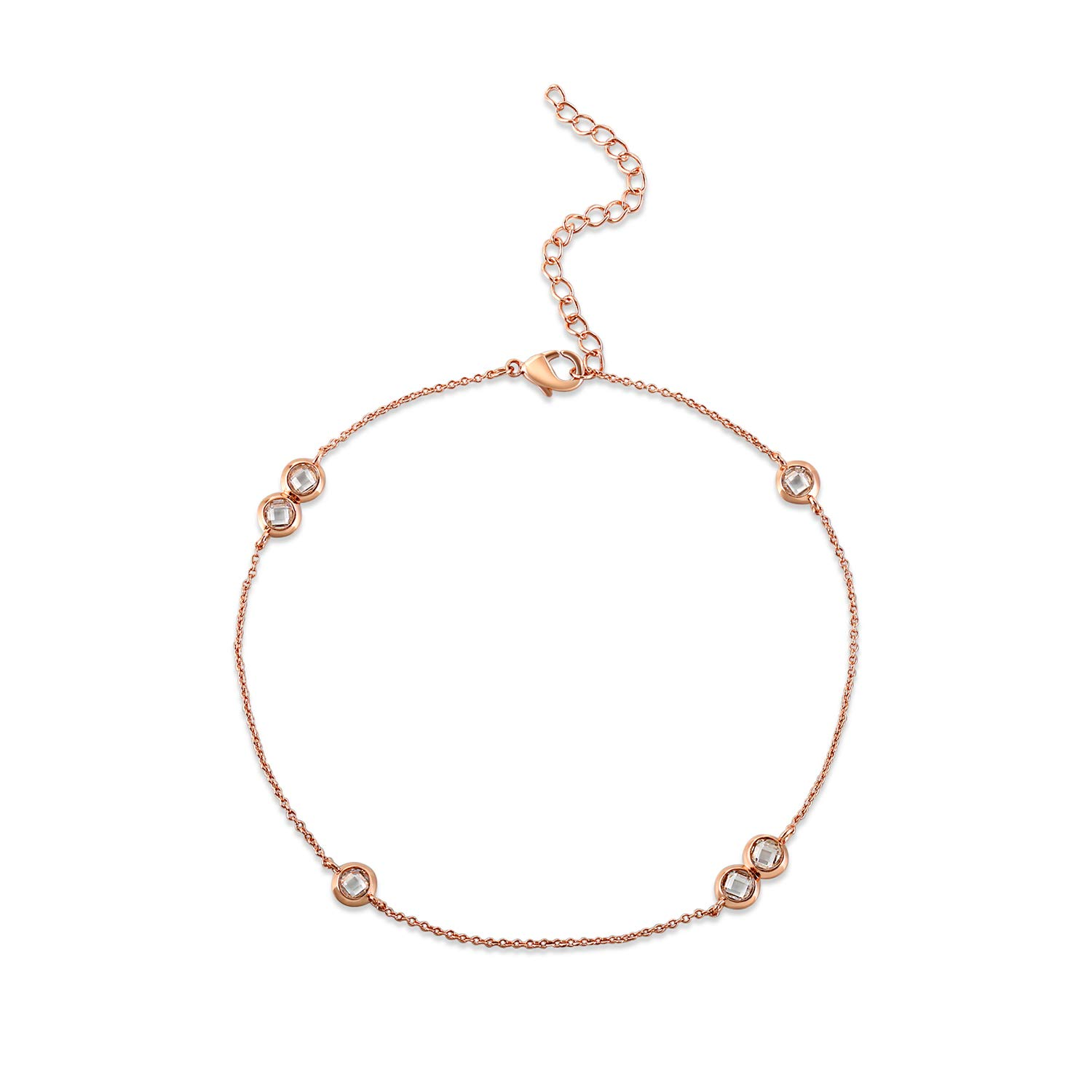 QUINBY 14K Rose Gold Plated Ankle Bracelets For Women Cubic Zirconia Adjustable Anklet Bracelets Chain Fashion Collection Lady Foot Jewellery QUINBY Jewellery F10600012250