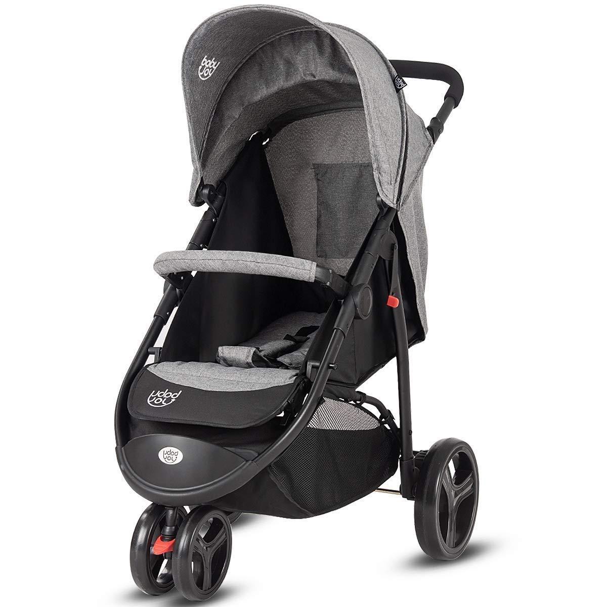 HONEY JOY Baby Jogger Stroller, Infant Travel Portable Jogging Stroller, Folding Pushchair w/Removable Bar, Wallet Bog, 5-Point Harness, Storage Basket (Gray)