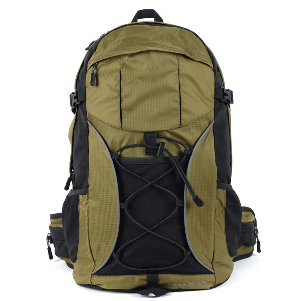 Green 32L Hiking Travel Backpack Waterproof Camping Rucksack Trekking Backpack with Rain Cover for Outdoor Mountaineering Walking Cycling Climbing