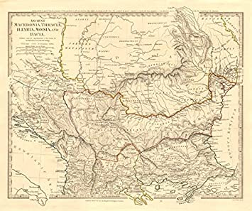 BALKANS ANCIENT. Macedonia, Thracia, Illyria, Moesia and Dacia. SDUK - 1845 - old map - antique map - vintage map - Balkans maps